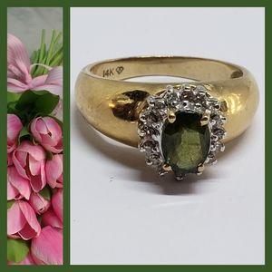 Vintage Green Sapphire & Diamond 14K Gold Ring